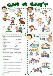 English worksheet: CAN or CAN´T - abilities *2 pages, 8 tasks*