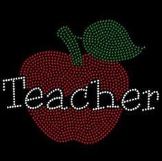 Apple Teacher Rhinestone Tshirt Bling Motif by BlingnPrintStreet