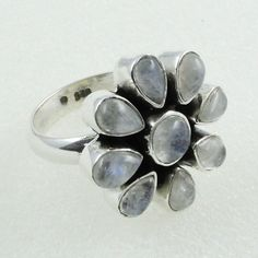 RAINBOW MOON STONE FLOWER DESIGN 925 STERLING SILVER RING _ SILVEX IMAGES #SilvexImagesIndiaPvtLtd #Statement