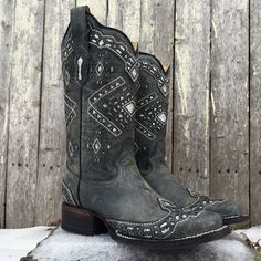 Corral Women's Distressed Grey with Silver Glitter Square Toe Boots A3119