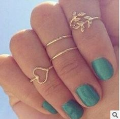 8pcs/2set(1 set gold and 1 set silver) Fashion Women Silver & Gold Jewelry Mid-Finger Rings Knuckle ring Set Sweet heart Leaf Rhinestone = 1669403396