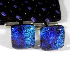 Dichroic Glass Cufflinks in Purple, Blue and Turquoise, Mens Jewelry | @ResetarGlassArt - Jewelry on ArtFire