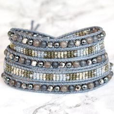 Pretty Shades of Grey Vegan Wrap Bracelet