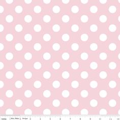 Riley Blake Medium Dot, White on Baby Pink, fabric by the yard by TresJolieFabrics on Etsy https://www.etsy.com/listing/270161412/riley-blake-medium-dot-white-on-baby