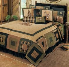 Hunting Theme Quilts | Donna Sharp Deer Blocks Quilt $239.00 | Hunting Theme Bedroom