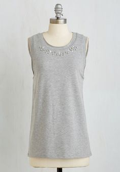 All Fun and Glams Top - Grey, Solid, Rhinestones, Casual, Sleeveless, Knit, Better, Scoop, Mid-length, Beads