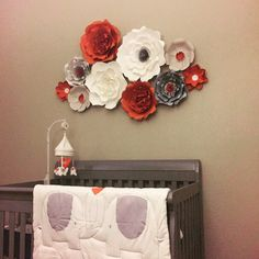 How To Make Paper Flowers, Large Paper Flowers, Different Flowers, Different Colors, Orange Grey, Gray, Baby Shower Deco, Paper Flower Backdrop, Flower Making