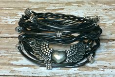 Heart & Wings Black and Gunmetal Multi Strand by DesignsByJen1,