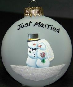 Just Married Personalized Glass Ornament by HeirloomsByTLH on Etsy