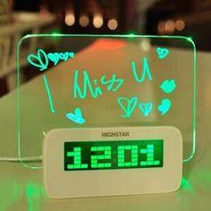 I found 'Fluorescent DIY Memo Message Board Desk Table Digital Alarm Clock With 4 Port USB' on Wish, check it out! Led Alarm Clock, Led Fluorescent, Blue And Green, Green Led, Down Comforter, Desk Clock, Clock Table, Star Wars, Usb Hub