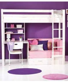 Loft bed with desk and storage - perfect for a tween / teen in a small bedroom…
