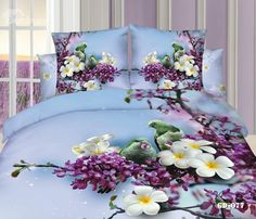 Beautiful Bird Standing On Floral Branch Duvet Cover Sets Purple Bedding Sets, Bedroom Comforter Sets, Duvet Bedding Sets, Floral Bedding, Quilt Bedding, King Size Duvet Covers, Duvet Cover Sets, Bed Sheet Painting Design, Contemporary Duvet Covers