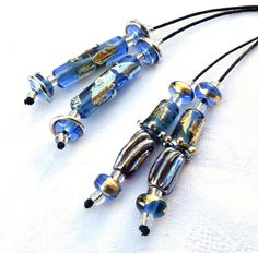 1 Earring Pair * Golden Sky Blue Tubes* or *Twisted Golden Sky Bling Tubes* & 4 Accent Beads* Handmade Lampwork Beads Beadfairy Lampwork SRA by Beadfairy on Etsy