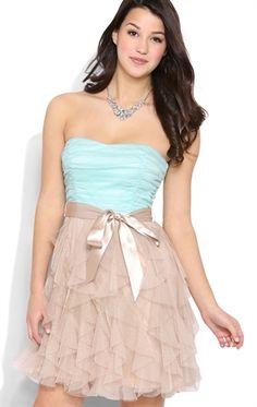 strapless tie waist tendril short dress