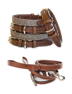 Luxury+Herringbone+Tweed+Dog+Collar+And+Leather+Lead+Set, £103.00