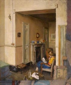 Interior with Girl Reading 1955 by Stanley Clare Grayson © Colchester and Ipswich Museum.