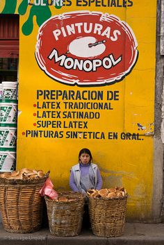 Bread seller on the street, La Paz, Bolivia