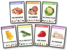 7 families on food, animals, everyday objects … rnrnSource by decaluw Core French, French Class, Healthy Food Activities For Preschool, Whole Foods Market, French Resources, Camping Gifts, Teaching French, French Food, Montessori