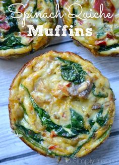 These healthy little Spinach Quiche Muffins are easy to make ahead and just heat them up each morning. Have along with oatmeal for a great clean eating breakfast. SPINACH QUICHE MUFFINS As some of Clean Eating Vegetarian, Clean Eating Breakfast, Clean Eating Diet, Make Ahead Breakfast, Healthy Eating Recipes, Clean Eating Recipes, Breakfast Recipes, Cooking Recipes, Eating Habits