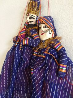 "HANDICRAFT 20"" PUPPETS INDIAN RAJHSTHANI CULTURE HAND MADE WALL/WINDOW HANGING"