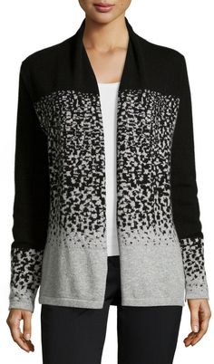 Neiman Marcus Cashmere Two-Tone Intarsia Knit Cardigan, Black/Gray