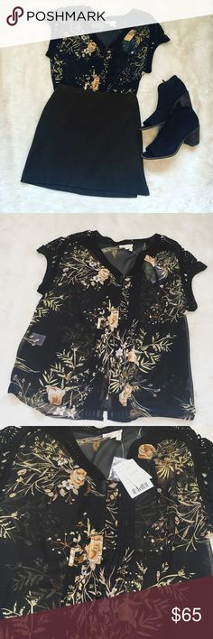 Anthropologie Top Anthropologie Emberglow Floral Lace Trim Blouse  NWT By Meadow Rue Size XS Petite Anthropologie Tops