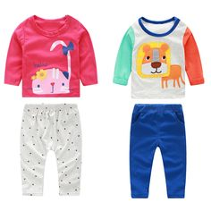 2Pcs Baby Clothing Set Newborn Kids Baby Infant Outfit Long Sleeve Cotton T-Shirt+ Pant Clothes Set 0 to 24 Months FCI# #Affiliate