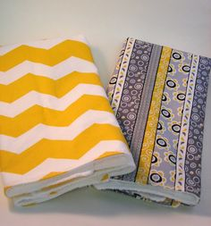Mustard Yellow and Grey, Set of Towels, Chevron Fabric, Two Dish Towels,Fashionable Kitchen, Ready to Ship. $24.00, via Etsy.