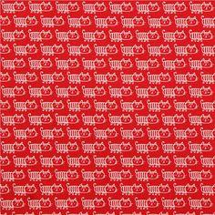 Tissu rouge série animaux importé du Japon avec des petits chats rigolos