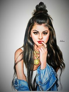 More Selena Gomez Selena Gomez Drawing, Selena Gomez Fotos, Fashion Sketches, Art Sketches, Art Et Design, Girly M, Girly Drawings, Celebrity Drawings, Polychromos