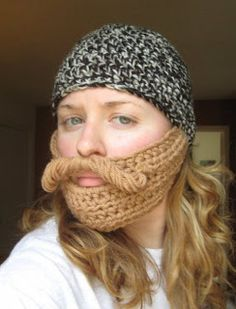 3f14d48bcc3d4 My favorite crocheted bearded beanie. Look at that  stache! Hooks and  Hornbooks  A pattern for a beard hat!