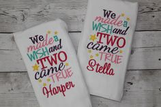 A personal favorite from my Etsy shop https://www.etsy.com/listing/452483956/personalized-baby-girl-twin-burp-cloths