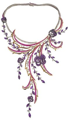 Carmen Necklace : WHITE GOLD, PINK GOLD, DIAMONDS (CT 10,47), SAPPHIRES (CT 16,56) AND AMETHYST-Haute Tramp: