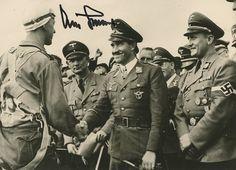 Adolf Galland and Arthur Axmann shaking hands with paratrooper. Paratrooper, Luftwaffe, Adolf Galland, Flying Ace, Fighter Pilot, German Army, Ferdinand, Military Art, World War Two