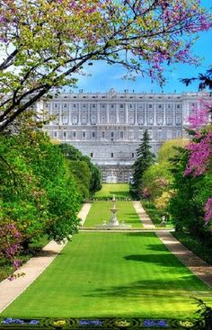 Formal Gardens at the Royal Palace, located in Madrid Spain. The Palacio Real de Madrid is the official residence of the Spanish Royal Family. However, the Palace is only used for State Ceremonies.