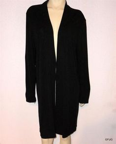 JONES NEW YORK Sz XL 1X Black Rayon Knit Open Front Jacket Lagenlook