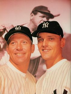 New York Yankee sluggers, Mickey Mantle and Roger Maris with  Babe Ruth pictured in the background, 1961