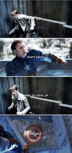 "'' / Steve Rogers : Captain America ""I could do this all day"" Marvel Quotes, Marvel Memes, Marvel Dc Comics, Marvel Avengers, Captain Marvel, Loki Quotes, Steve Rogers, Captain America And Bucky, Captain America Quotes"