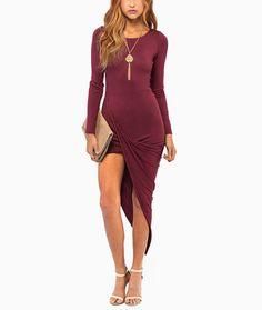 Long Sleeve Asymmetrical Drape Bodycon Dress