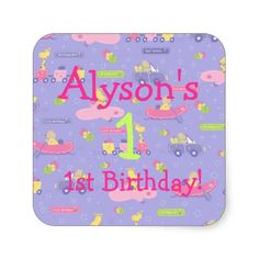 Purple Animals On The Go Birthday Square Stickers