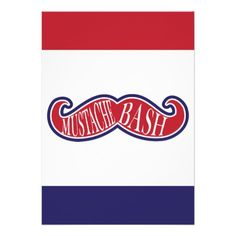 Mustache Bash - Red, White and Blue Personalized Invites