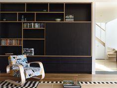 Black plywood shelves