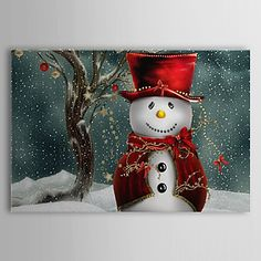 Stretched Canvas Art Holiday Christmas Snowman - EUR € 28.87