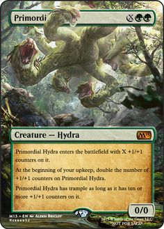 Primordial Hydra Mtg Hydra, Game Card Design, Mtg Altered Art, Mtg Art, Nice Comments, Deck Builders, Dnd Monsters, Magic The Gathering Cards, Alternative Art