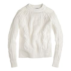 J.Crew women's cotton cable sweater in ivory.