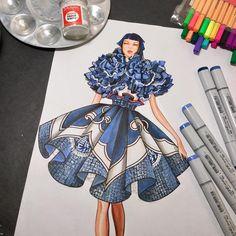 Ruffles! #fashiondesigner #fashionillustrator #illustration by #paulkengillustrator #inspiration #rendering madness! #thankyou