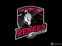 Rebels Rugby on Behance Game Logo Design, Badge Design, Branding Design, Sports Team Logos, Esports Logo, Logo Inspiration, Rugby Club, Alberta Canada, Collaboration