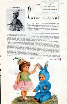 ❤ Page originale, poupée Françoise et Michel MODES ET TRAVAUX, août 1960 ❤
