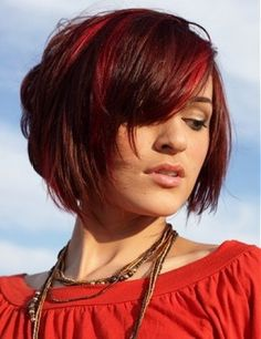 Red bob style with fringe