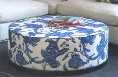 Gervasoni Otto Ottoman and Coffee Table - make a DIY version? Blue Ottoman, Ottoman Stool, Coffee Table Pictures, Picture Table, Decorative Accessories, Home Furnishings, Outdoor Living, Blue And White, Indoor
